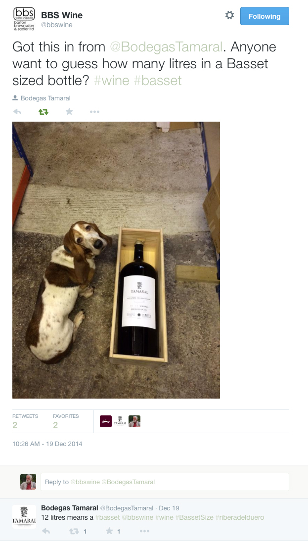 Basset Size Wine Bottle